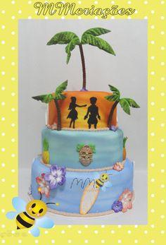 bolo cenográfico em e.v.a - hawai www.mmcriacoes.blogspot.com