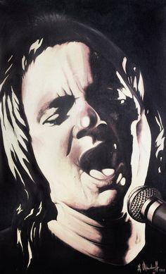 Steve Marriott (Small Faces, git., voc.) * 30.01.1947 – † 20.04.1991 Öl auf Leinwand (1997) 130 cm x 80 cm  #Music #POWERVOICE