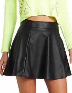 Charlotte Russe Faux Leather Skater Skirt