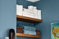 Top an oft-ignored storage area—directly above the toilet—with shelves that are a cinch to DIY. Cut pine boards to size and stain them, and support with 1-inch cleats at both ends.