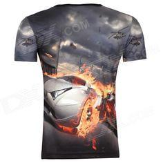 Men's Korean Version Flaming Sports Car Printing Pattern Short Sleeve T-shirt…