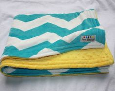 Chevron Minky Blanket Teal and Yellow by BornPlatinum on Etsy, Minky Baby Blanket, Baby Blankets, Baby Mine, Baby Swag, Dimples, Little People, Warm And Cozy, Playroom, Chevron