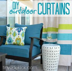 See how I made these DIY Outdoor curtains for less than $10 a panel!  ||  TinySidekick.com  #outdoordecor #diycurtains #sewing http://www.tinysidekick.com/diy-outdoor-curtains/