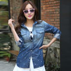 2014 Spring Medium-Long Slim Shirt Dark Blue Turn-Down Collar Long-Sleeve Women/Female Denim Shirt Lady Jeans Shirt Blouse NZ021
