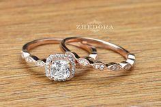 1.6 CT Princess Cut Engagement Ring band set with Art von Zhedora