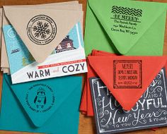 Brighten up your holiday mailing list with colorful envelopes and custom return address stamps