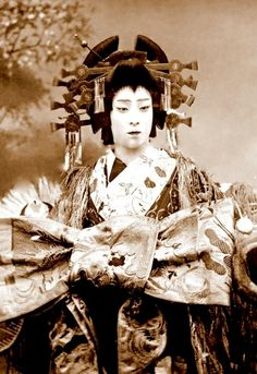 the Oiran-Boy. Taken around 1900. This is a Japanese actor Dressed- Yes- as an Oiran.