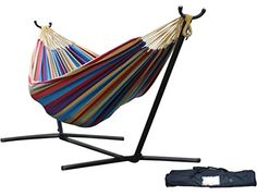 Double Hammock with Space-Saving Steel Stand - Tropical. The double hammock is made with cotton, creating a comfortable refuge for an afternoon snuggle. Outdoor Hammock, Hammock Swing, Hammock Chair, Play Swing, Swing Beds, Outdoor Beds, Backyard Hammock, Backyard Play, Hammocks