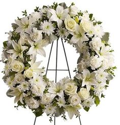 Looking for flower wreaths or a funeral flower wreath? Honor those you lost with a beautiful sympathy floral wreath arrangement. We specialize in creating traditional flower wreath arrangements for funeral, memorial, church services and the home. Flowers For Funeral Service, Funeral Flowers, Funeral Floral Arrangements, Flower Arrangements, White Wreath, Floral Wreath, Funeral Sprays, Lighted Wreaths, Corona Floral