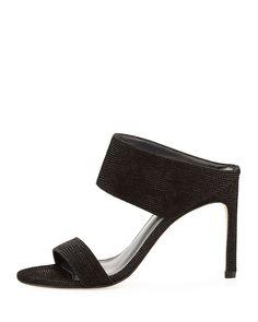 MySlide Leather Sandal, Black