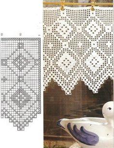 Diana Bistro Gardinen D 1302 - Zosia - Picasa Web Albums Filet Crochet, Crochet Borders, Crochet Chart, Thread Crochet, Crochet Trim, Crochet Lace, Crochet Patterns, Crochet Curtain Pattern, Crochet Curtains