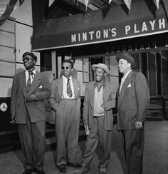 Portrait of jazz legends Thelonious Monk, Howard McGhee, Roy Eldridge, and Teddy Hill in front of Minton's Playhouse in Harlem, N.Y, 1947, from the William Gottlieb Collection.