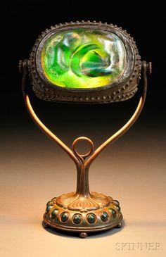Tiffany Studios Turtleback Table Lamp, Bronze and Art Glass