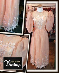 Vintage Peach Chiffon William Pearson Dress FREE by HighLowVintage