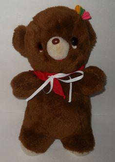 "Gund Bear Brown Rattle Flower Plush Baby Toy Stuffed 1976 Japan 16"" Vintage…"