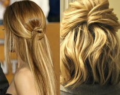 For an unique knot effect like Kim Raver's (left), twist the top part into a small doughnut shape. Then pull remaining ends through