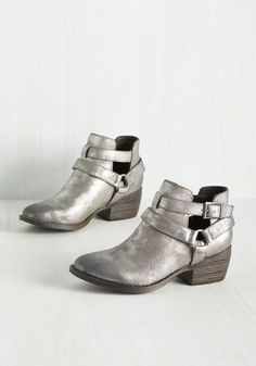 Skip a Beat Metallic Bootie in Pewter by BC Footwear - Silver, Solid, Belted, Party, Girls Night Out, Fall, Better, Ankle, Pewter, Metallic, Faux Leather, Variation
