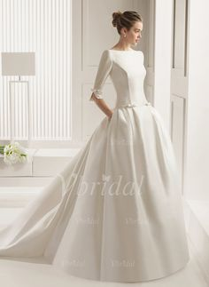 Wedding Dresses - $202.50 - Ball-Gown Scoop Neck Chapel Train Satin Wedding Dress With Bow(s) (0025057325)