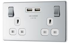 Colours Polished chrome Switched Double Socket & 2 x USB Polished Chrome, Colours, Kitchen, Lighting, Cooking, Kitchens, Lights, Cuisine, Lightning