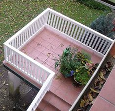 Gartentür Ohland - Hartholz weiß Outdoor Stairs, Deck Railings, Balcony, Porch, Outdoor Structures, Patio, Garden, Outdoor Decor, Plants
