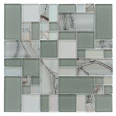 allen   roth Volcanic Laser Pewter Glass Mosaic Wall Tile (Common: 12-in x 12-in; Actual: 11.75-in x 11.75-in)
