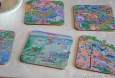 Disney Map coasters! @Sarah 'Davis' Hendricks might find this idea cool :)