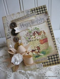 victorian birthday card- happy birthday card- BASKET FULL of PUPPIES handmade  card