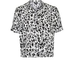 Women's Topshop Monochrome Animal Print Shirt (32 AUD) ❤ liked on Polyvore featuring tops, shirts, animal print tops, short sleeve shirts, button front tops, collared shirt and animal print shirts