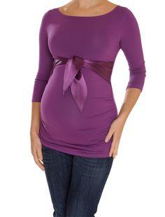 Dusky purple satin bow maternity top