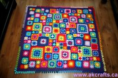Crochet Pattern - Granny Squares Afghan - Baby Afghan - Throw  - Pdf -  Instant Download - Happy  Crochet Blanket Pattern