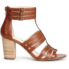 Sole Society Elise Gladiator Heel ($80) ❤ liked on Polyvore featuring shoes, sandals, light luggage, sole society, leather shoes, leather gladiator sandals, gladiator sandals and stacked heel shoes
