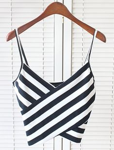 Sexy Spaghetti Strap Sleeveless Striped Low Cut Women's Crop Top