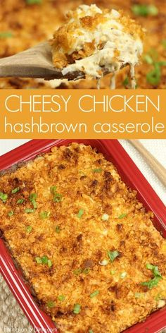 Chicken hashbrown casserole recipe is the perfect casserole to make on busy nights. It's loaded with chicken, hashbrowns and yummy cheese. The entire family will love this Cheesy chicken potato casserole recipe. Give chicken hash brown casserole recipe a try! #eatingonadime #casserole #chicken #potatoes #cheese #recipes #comfortfood #foodie
