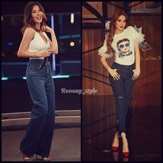 How to style? White top & denim pants in different looks& styles .. you can take inspirations from Nancy Ajram & Cyrine
