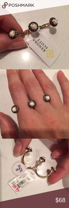 NWT Kendra Scott Odette Double Ring size 8 Beautiful gold triple jeweled ring! Brand new and perfect staple for your jewelry cabinet Kendra Scott Jewelry Rings