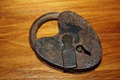 On Etsy...Vintage lock - rusty - heart shape - padlock - antique - metal hardware. $18.00, via Etsy.