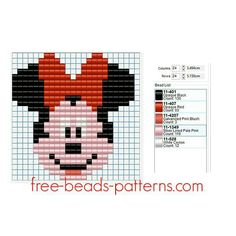 Disney Minnie Mouse Face Free Hama Beads Pyssla Pattern For Children 24 X 24 5 Colors - Free Perler Beads Patterns Fuse Beads Hama Beads - Diy Crafts - hadido Cross Stitch For Kids, Cross Stitch Cards, Cross Stitching, Hama Beads Patterns, Weaving Patterns, Peyote Patterns, Mickey Mouse, Fuse Beads, Perler Beads
