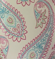 Nizam Wallpaper Large paisley design in pink green and turquoise on stone.