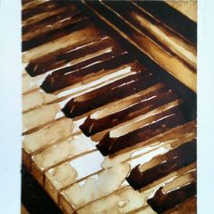 Piano coffee painting Sold h. Watercolour Painting, Painting & Drawing, Watercolors, Music Painting, Watercolor Ideas, Coffee Painting, Coffee Artwork, Coffee Drawing, Piano Art