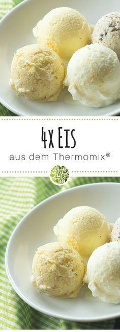 Vier der besten Milcheissorten aus TM5®️ und TM31. Die leckersten Thermomix®️ Eis Rezepte gibt es hier. Im MIXELITE EIS & MEHR Rezeptheft von will-mixen.de. #thermomix #willmixen #eis