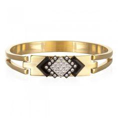 Nov 2013-Black and Clear Crystal Deco Hinge Bracelet by Sandy Hyun | Charm & Chain