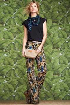 6 Genius Ways To Style Wide-Leg Pants #refinery29  http://www.refinery29.com/how-to-wear-wide-leg-pants#slide4  An all-over printed pant looks super-sophisticated with a solid top. Get bonus points for choosing a top that coordinates with a color in the print, and adding a scarf in a contrasting (but not competing) pattern.  L.L.Bean Signature Linscott Bell Bottoms, $79.99, available at L.L.Bean.