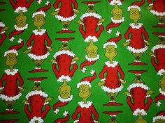 FQ DR SEUSS CHARACTERS CAT IN THE HAT GRINCH FABRIC   eBay