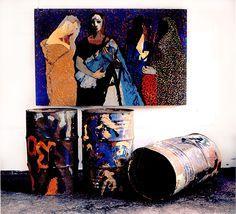 "Chandraguptha Thenuwara, ""Women in Barrelistic Area"", acrylic on wood and three painted barrels, 1998."