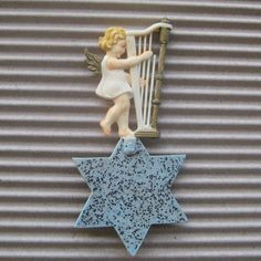 Vintage Christmas Ornament Hard Plastic Angel Made In Germany 1950s