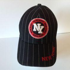 New York Pin Stripe Pattern Baseball Hat Cap Color Black White Red  #BaseballCap