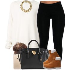 Tan and Ivory. ✨ by livelifefreelyy on Polyvore featuring URBAN ZEN, Timberland, Michael Kors and AllSaints