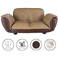 Dog Couch / Leather Dog Bed / Reclining Dog Sofa Bed With Stylish Water Resistant Faux Leather Finish 28 in x 24 in x 14 / Dog Bed / Sofa Beds for Dogs By Frontpet Lux