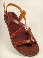 Pagonis Greek sandals . Stylaki Leather Sandal Aeolian Brown