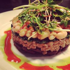 Gateau of Hudson Valley grains and legumes. Farro, pinto beans, wild mushrooms, and spinach with a local sprout salad #kittlehouse #vegetarian #healthy kittlehouse.com